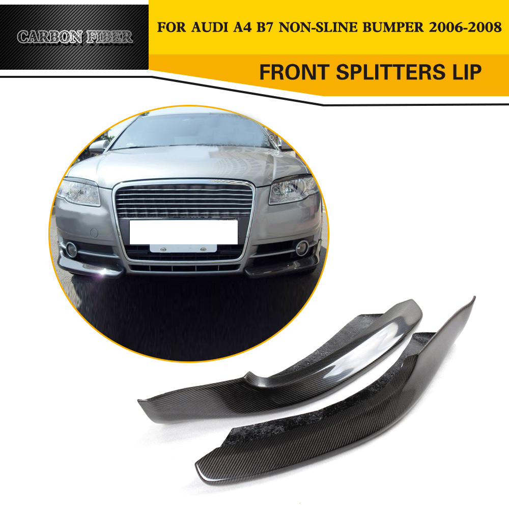Car Style Front Splitters Lip Flaps Cupwings Carbon Fiber Car Aprons For Audi A4 B7 Standard 2006 2008
