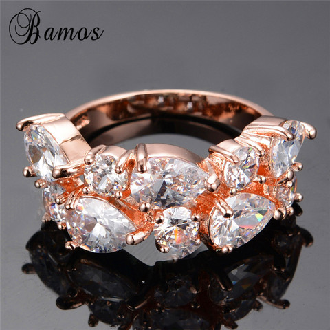 Bamos New Retro Geometric Multicolor & White AAA Zircon Rainbow Rings For Women Rose Gold Filled Wedding Jewelry Best Lover Gift Multan