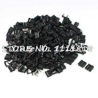 200 Pcs FC-10P 10 Pin Male IDC Socket Plug Ribbon Cable Connector Black 25 pcs 16 position female idc plug flat ribbon cable connectors black