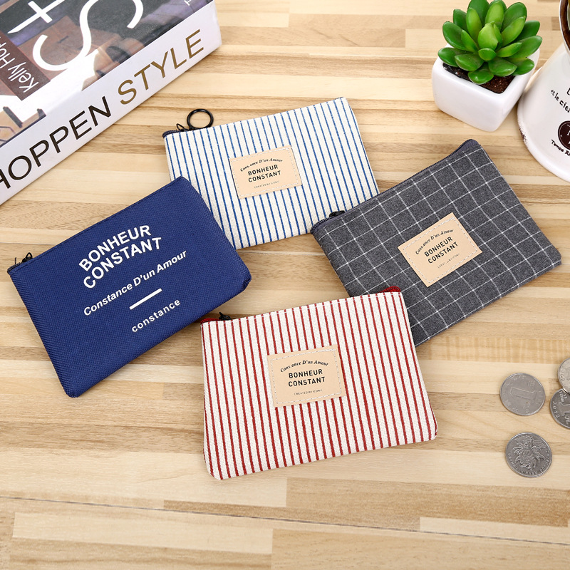 PACGOTH Japanese and Korean Style Women's Canvas Coin Purse Creative Geometric Stripe Pattern Zipper Coin Cash Card Pouches 1 PC женские брюки other japanese and korean brands