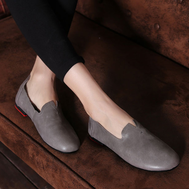 ФОТО OhAnna Women Shoes Slip on Ballet Flats Genuine Leather Women Flat Shoes Round toe red rubber Sole Spring/Autumn Footwear (703-7