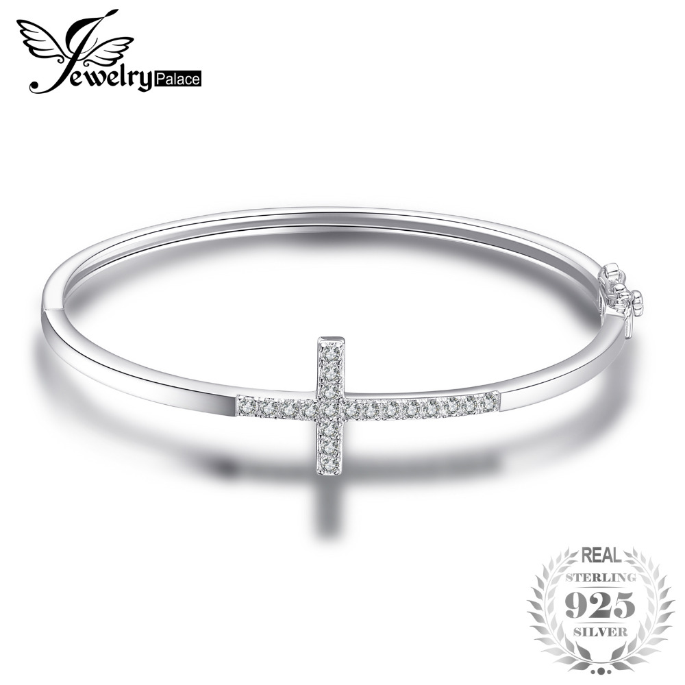 JewelryPalace 0.7ct Cubic Zirconia Cross Bangle Bracelet Pure 925 Sterling Silver Fashion Jewelry Fashion Bracelet For Women