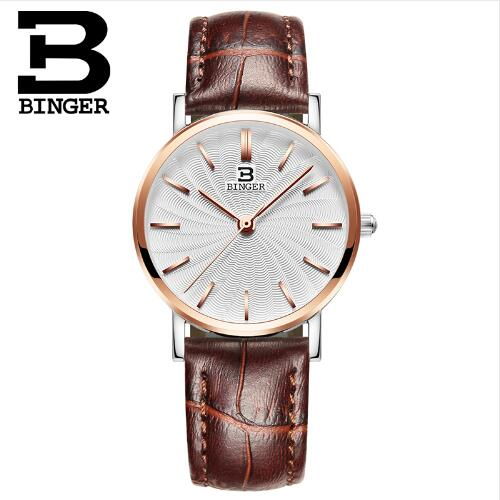 Switzerland 2017 New Brand Binger Quartz Watch Women Dress Watches Leather Wristwatches Fashion ultrathin Casual Watches Gold 2017 new binger fashion casual cow leather watches waterproof wristwatches hours for man sapphire orange quartz watch