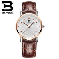 Switzerland 2017 New Brand Binger Quartz Watch Women Dress Watches Leather Wristwatches Fashion ultrathin Casual Watches Gold