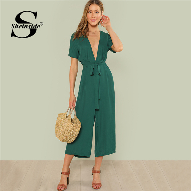 565263ac513e Sheinside Plunge Neck Belted Culotte Jumpsuit Green Deep V Neck Short  Sleeve Knot Jumpsuits Women Summer