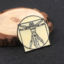 SG Leonardo da Vinci Uomo Vitruvian Badge Brooches Pins The Madonna Litta Keyring Enamel Pin Men Bag Coat Jewelry Xmas Gift цена