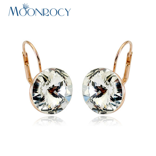 MOONROCY Drop Shipping Round Crystal Earrings Jewelry Wholesale Rose