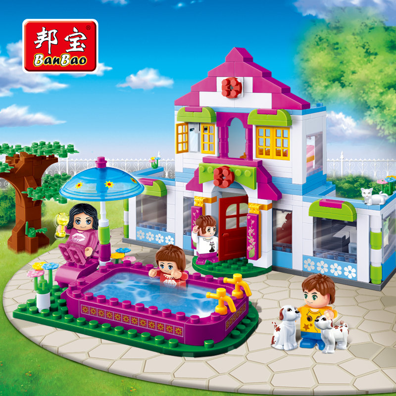 BanBao Girls Educational Building Blocks Toys For Children Kids Gifts City Friends Pet House Tree swimming pool 2017 hot sale girls city dream house building brick blocks sets gift toys for children compatible with lepine friends