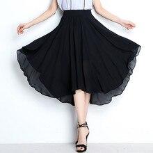 Большие Размеры M-6XL 7XL Асимметричная юбка большой размер ярких цветов для девочек; юбки для вечеринки, пикантные брендовые длинные шифоновые юбки белого, черного и красного цветов
