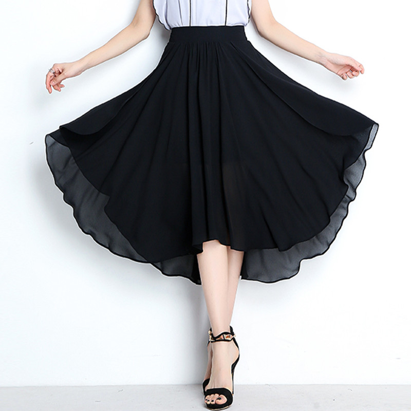 Plus size M- 6XL 7XL Asymmetrical skirt big size candy color girls party skirts,sexy brand long chiffon skirts white black red image