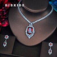 HIBRIDE Luxo Cristal Vermelho Pedra DA CZ Conjuntos de Jóias Para As Mulheres Colar de Noiva Set Acessórios Vestido de Noiva Preço de Atacado N-387