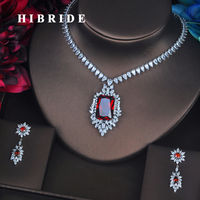 HIBRIDE Luxury Red Crystal CZ Stone Jewelry Sets For Women Bride Necklace Set Wedding Dress Accessories Wholesale Price N 387