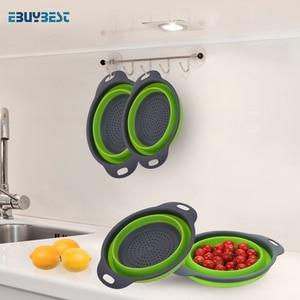 Image 5 - Faltbare Silikon Sieb Obst Gemüse Waschen Ablassen Sieb Korb Sieb Faltbare Sieb Mit Griff Küche Werkzeuge
