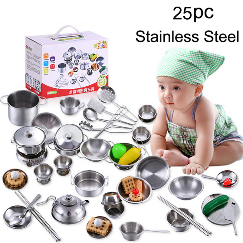 Gifts for the New Year fun toys25 Pcs Set Kids Play House Kitchen Toys Cookware Cooking Utensils Pots Pans Gift funny gift