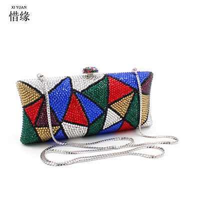 XIYUAN BRAND women geometric hologram small color baobao rhinestone diamond beaded shoulder bag handbags female cross body bags xiyuan brand female hand bag women clutches messenger bags small designer cross body shoulder bag diamond purses for gifts