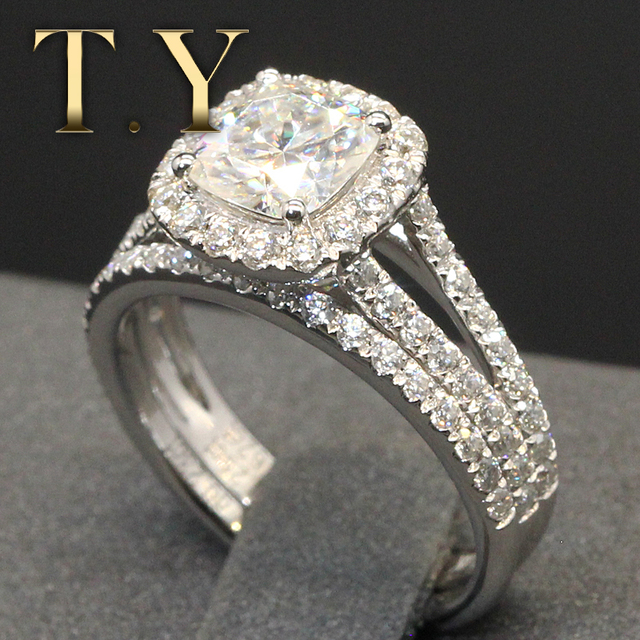 14K Solid White Gold 1.3CT Cushion Lab Grown Diamond Engagement Ring