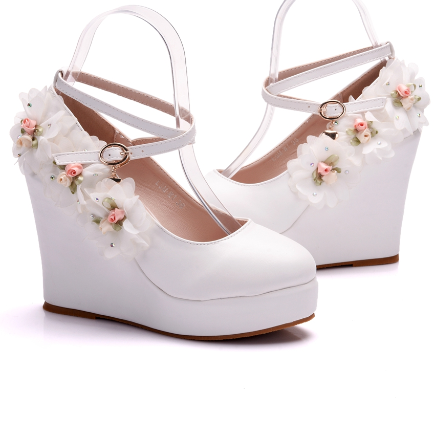 Crystal Queen White Women Wedding Party Pumps Wedge Heels Buckle Straps Lace Flower Bridal Shoes Platform Lady Dress In Womens From On
