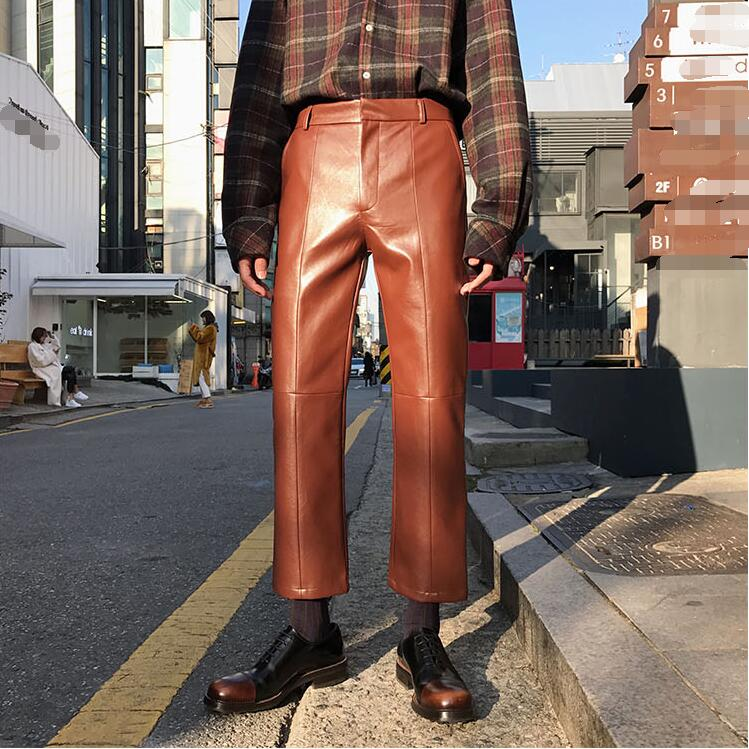 27-32!!Men's new products wear line stitched together in the four seasons with a soft leather nine-point trousers 51