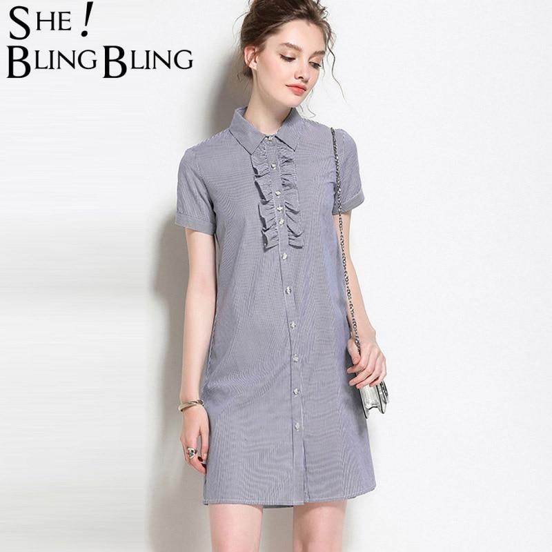 SheBlingBling Elegant Turn-down Collar Woman Clothing Shirt Dress Plus Size Women Summer Stripe Short Sleeve Work Office Dresses