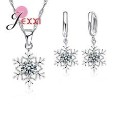 Luxury Women Wedding Bridal Jewellery Set Snow Shape Zircon Crystal Necklace Earrings Jewelry Sets