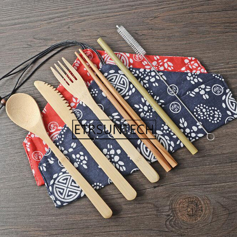 50sets Portable Knife Picnic Natural Reusable Straw Spoon Fork Chopstick Kitchen Utensil Bamboo Cutlery Set