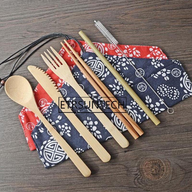 50 sets Draagbare Mes Picknick Natuurlijke Herbruikbare Stro Lepel Vork Eetstokje Keukengereedschap Bamboe Bestek Set-in Servies sets van Huis & Tuin op  Groep 1