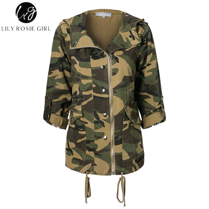 949c9b6423791 ... Lily Rosie Girl Casual Oversized Camo Parka Jacket Camouflage Womens  Coats Zipper Hooded Autumn Winter 2017 ...
