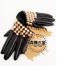 New men's fashion gd Male dj Dense silver rivet punk fringed leather gloves singer costumes clothing