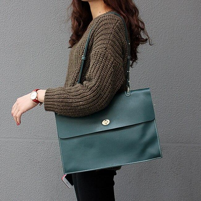Voyage d'affaires paquet femmes véritable mallette en cuir sac à bandoulière grande capacité sac de travail - 5