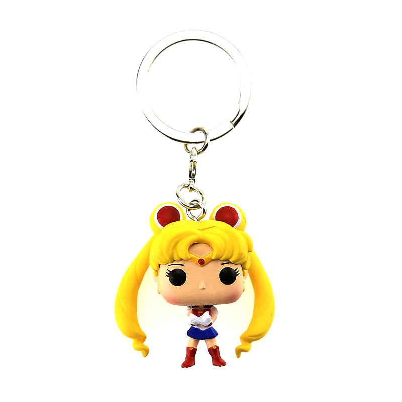 Classic Toys Cute Janpanese Anime Sailor Moon Keychain Key Ring Luna Cat Figure Gift Costume Props Tsukino Usagi Mercury Mars 6pcs set sailor moon tsukino usagi chibi usa sailor mars mercury venus jupiter kimono pvc action figure model toys 5cm kt3731