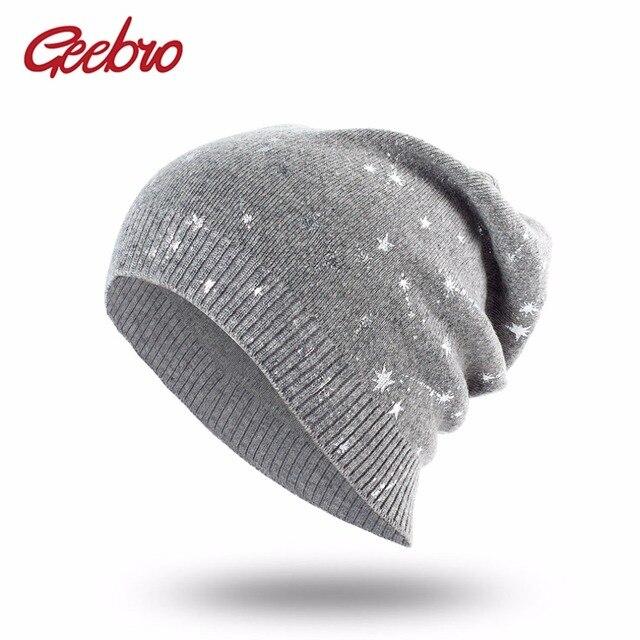 Geebro Estrelas Imprimir Slouchy Beanie Gorros Chapéu de Lã Primavera das  Mulheres para As Mulheres Outono c75ce7f59bc