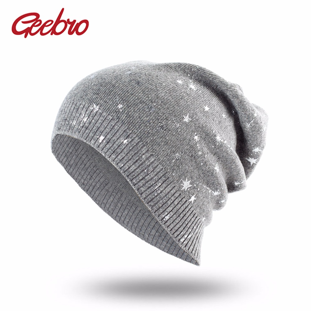 Geebro Women's   Beanies   Hat Spring Wool Stars Print Slouchy   Beanie   for Women Autumn Knitted Thin   Skullies     Beanie   Hat for Female