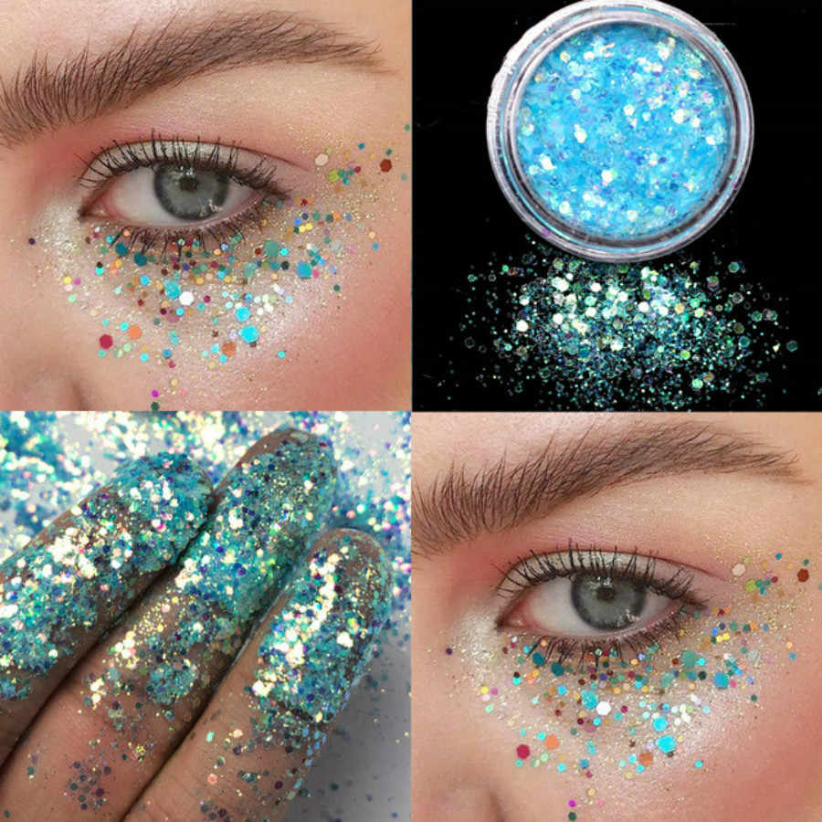1 Pcs Fashion Light Blue 12 Color 12 Color Glitter Eyeshadow Powder Pigment Mineral Spangle Makeup Cosmetic Set Long-lasting
