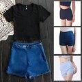 2017 Verão New Fashion Womens Sexy Skinny Cintura Alta Hot Shorts Jeans Shorts Jeans Zíper Lateral Curto Roupas Femininas B597