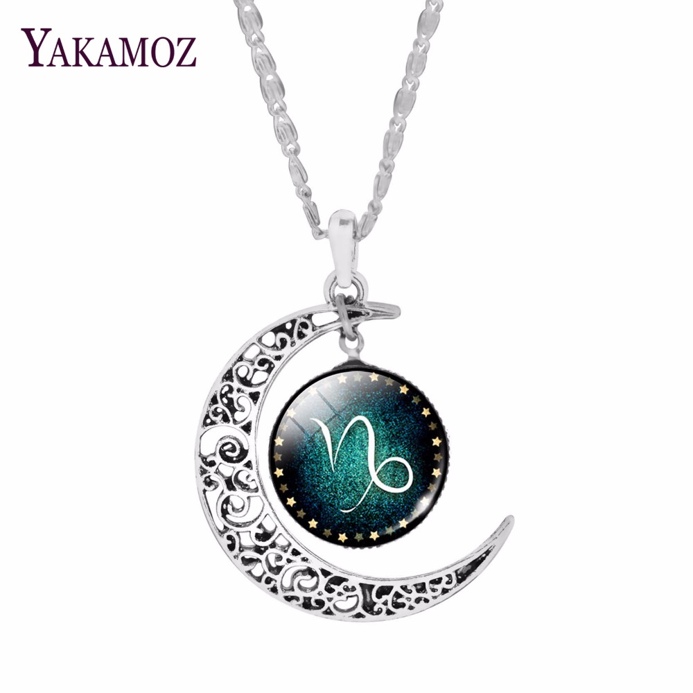 Fashion Silver Plated Crescent Pendant Necklaces Jewelry Zodiac Statement For Womne Cabochon Glass Neklaces Collares
