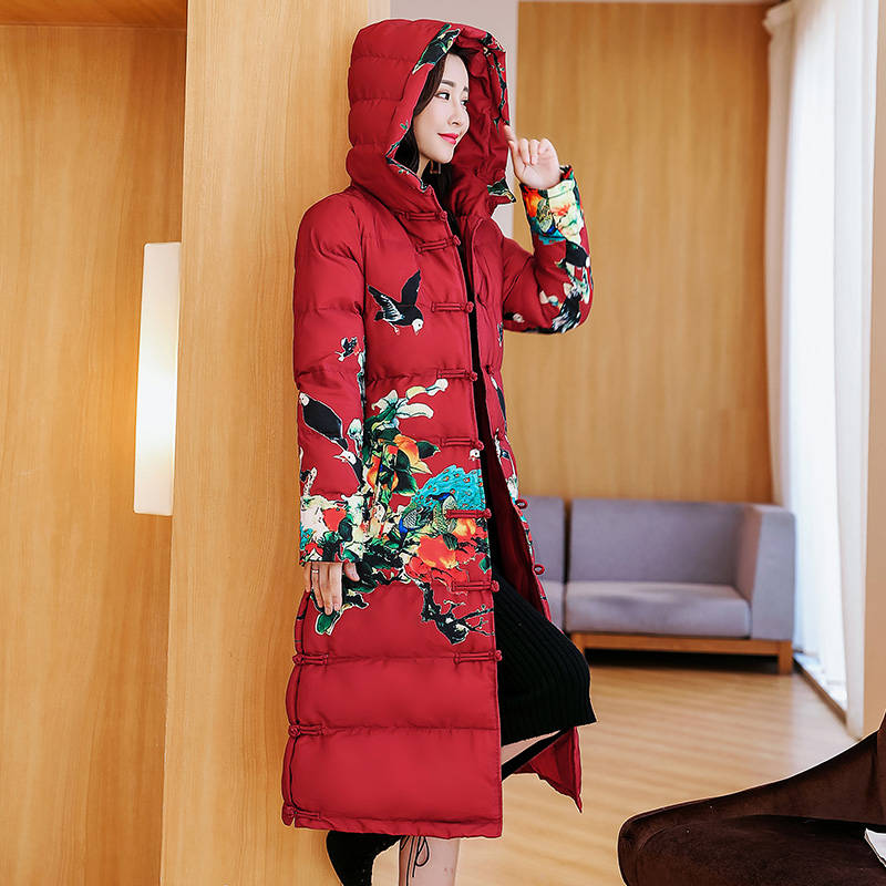 Vintage Printing Women Winter Jacket Plus Size 3XL 4XL New Slim Cotton Padded Women Winter Coat Female Jacket Long   Parkas   C5053