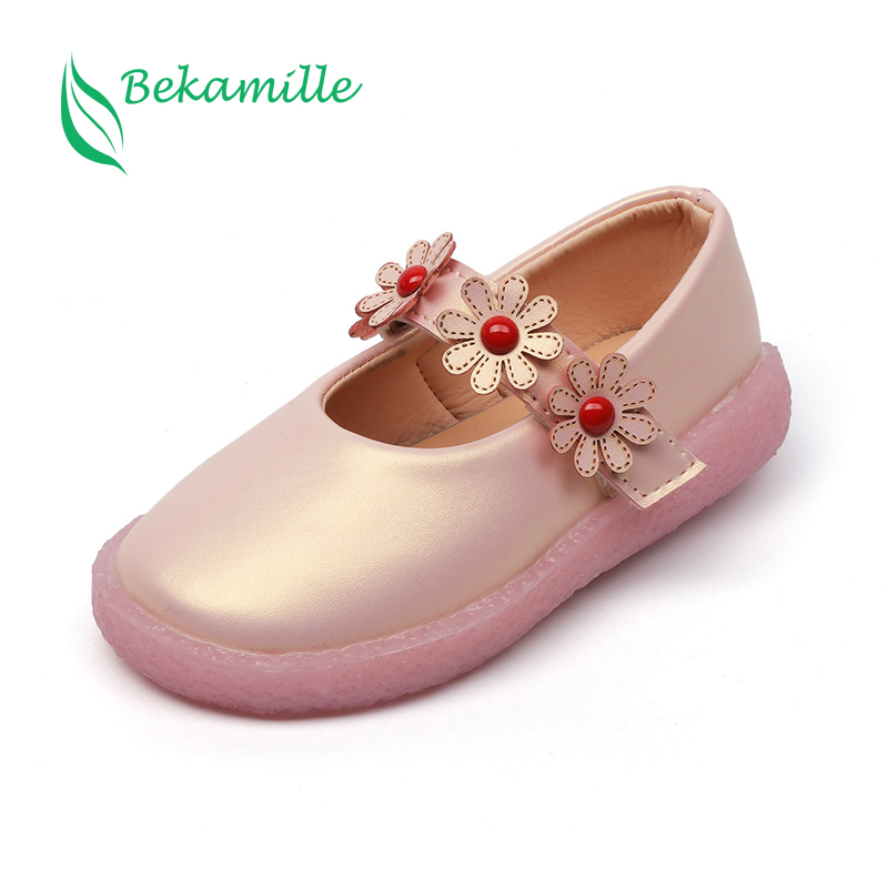 Bekamille Girls Leather Shoes 2018 Spring Autumn Flower Children Shoes For Girls Princess Baby Single Shoes Soft Sole Sneakers