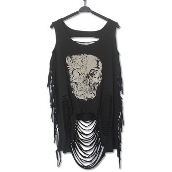 new summer women punk style t-shirt cotton printed skull animal flag hollow out t shirts with hole Beggar tshirt top