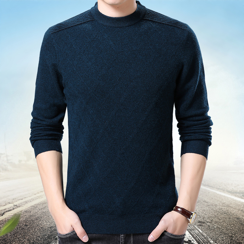 High quality autumn winter new fashion casual long sleeve pullovers sweater men soft warm dobby solid male sweaters plus size