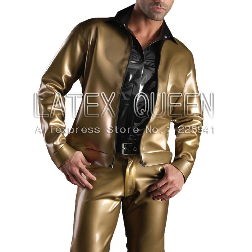 Herren Latex Gummijacken Oberbekleidung Metallic - Herrenbekleidung - Foto 2