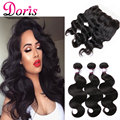 Ali Hair 8A Lace Frontal Closure With Bundles Peruvian Queen Doris Virgin Hair 13*4 Lace Frontal With Baby Hair Human Hair