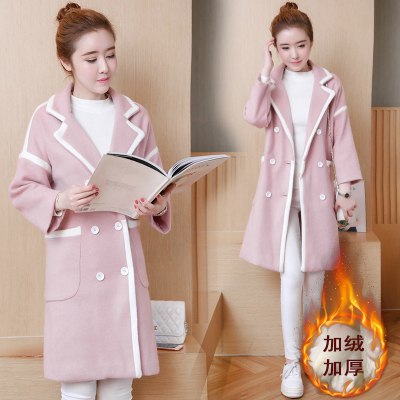 Pregnant women fall and winter clothing woolen jacket loose long section lapel large size fashion pregnant woman woolen coat