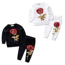 e4157ce6 Одежда с цветочным рисунком для маленьких девочек осенне-зимний теплый  пуловер и штаны детский милый тренировочный костюм из 2 п.