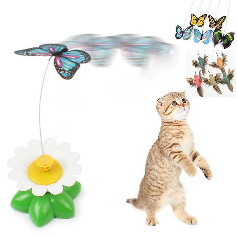 1pc Electric Rotating Cat Toy Flower Butterfly Hummingbird Steel Wire Cat Teaser Pet Toys
