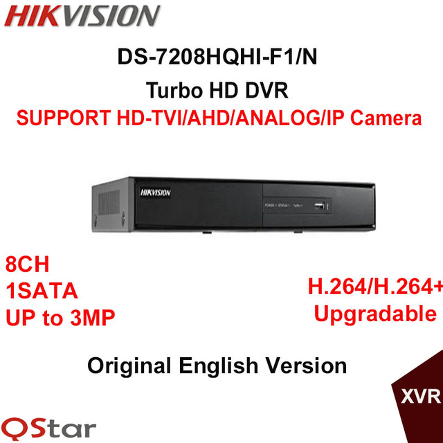 US $136 0 |Hikvision English Turbo HD DVR DS 7208HQHI F1/N support  HDTVI/AHD/Analog/IP Camera Up to 3MP recording support HDMI VGA output-in
