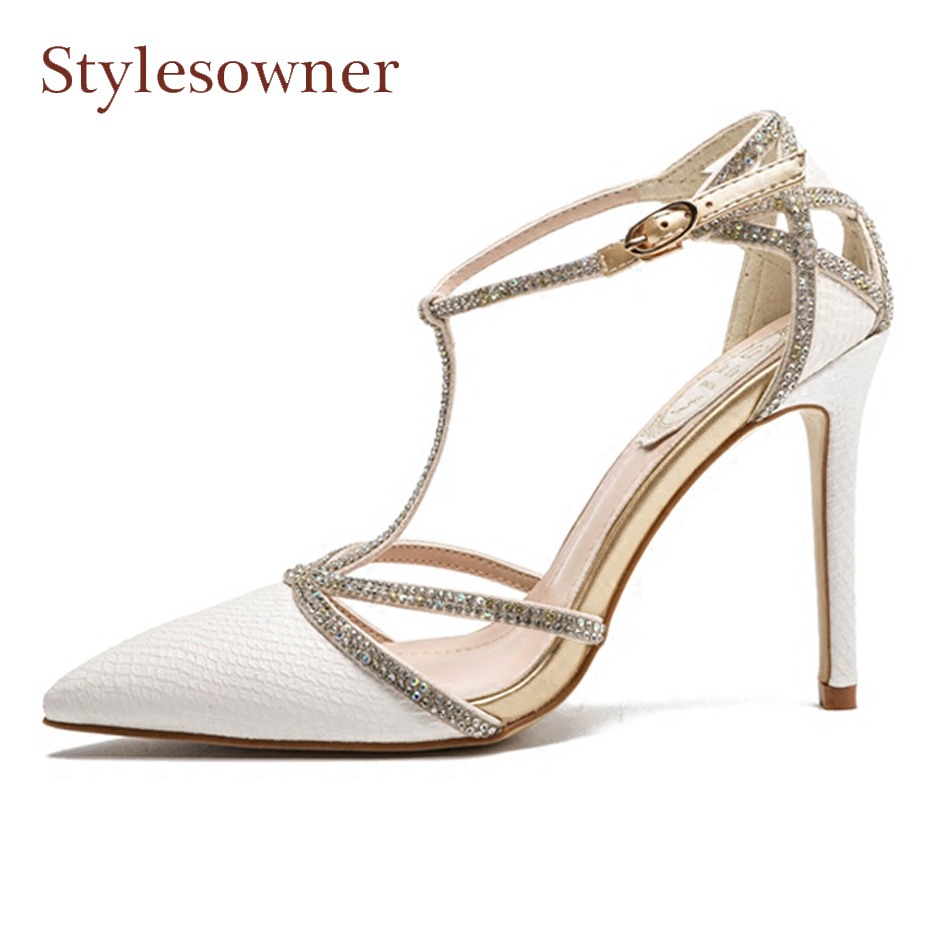 Stylesowner newest sexy lady crystal t strap genuine leather serpentine pump pointed toe stiletto heel party wedding shoes white