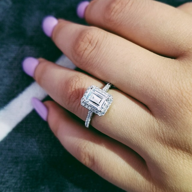 Fashion 925 Sterling Silver Engagement Wedding Rings For Women Ring