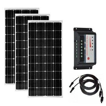 Solar Kit 300w Solar Module 12v 100w 3PCs PWM Charge Controller 12v/24v 30A Solar Battery Charger Motorhome Caravan Car Camp