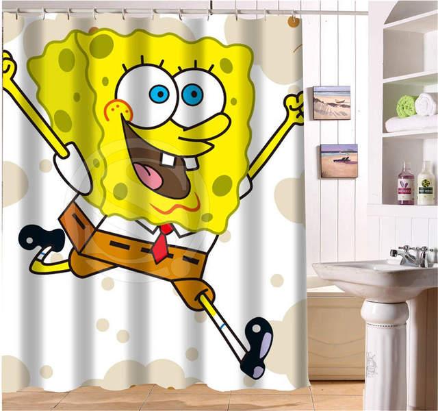 W622#266 Custom cartoon spongebob Modern Shower Curtain bathroom ...