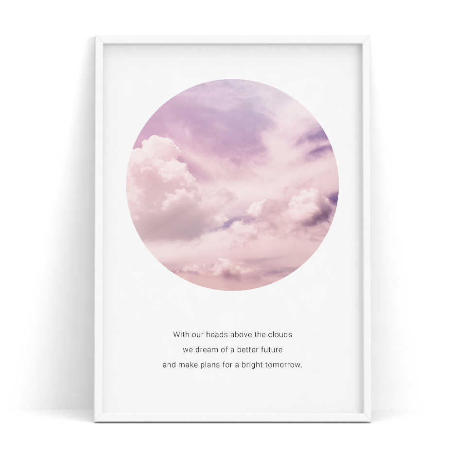 Poster Art Pink Clouds Quotes Nordic Posters and Prints Scandinavian Decor Wall Picture for Living Room Wall Art Canvas Print